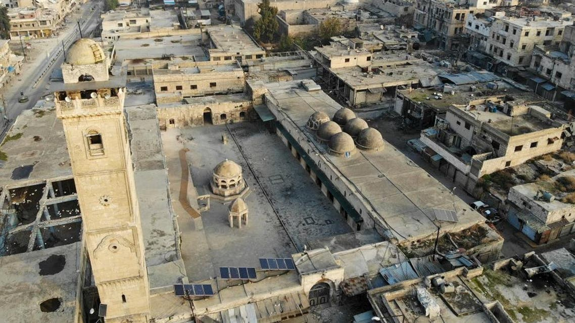 A drone picture taken on December 23, 2019 shows empty streets and damaged buildings in the town of Maaret Al-Numan in the northwestern Idlib province. (AFP)