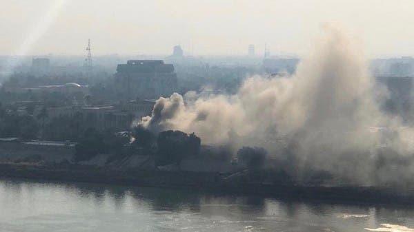 شاهد.. سحب الدخان ترتفع  بمحيط وزارة الدفاع العراقية