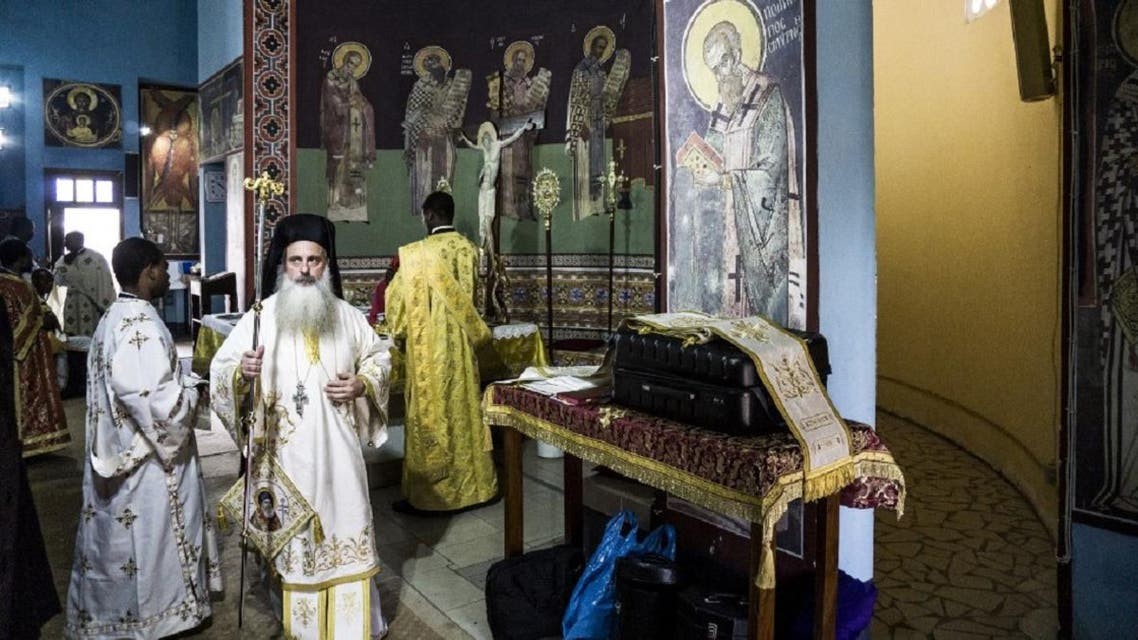 Patriarch Theodore II of Alexandria (L) of the Greek Orthodox Church attends a sunday mass at the Saint Andrew Cathedral in Kananga on November 10, 2019. (Photo: AFP)