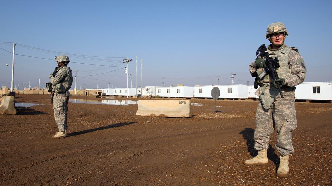 جندي أميركي في قاعدة التاجي العسكرية شمال شمال بغداد(أرشيفية- فرانس برس)