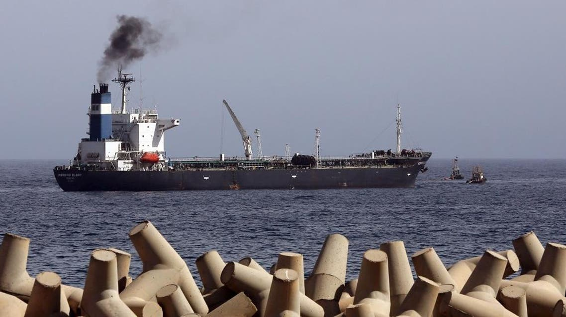 A general view taken on April 4, 2014 shows oil tanker Morning Glory, during the unloading of oil in the Libyan sea port of Zawiya. (AFP)