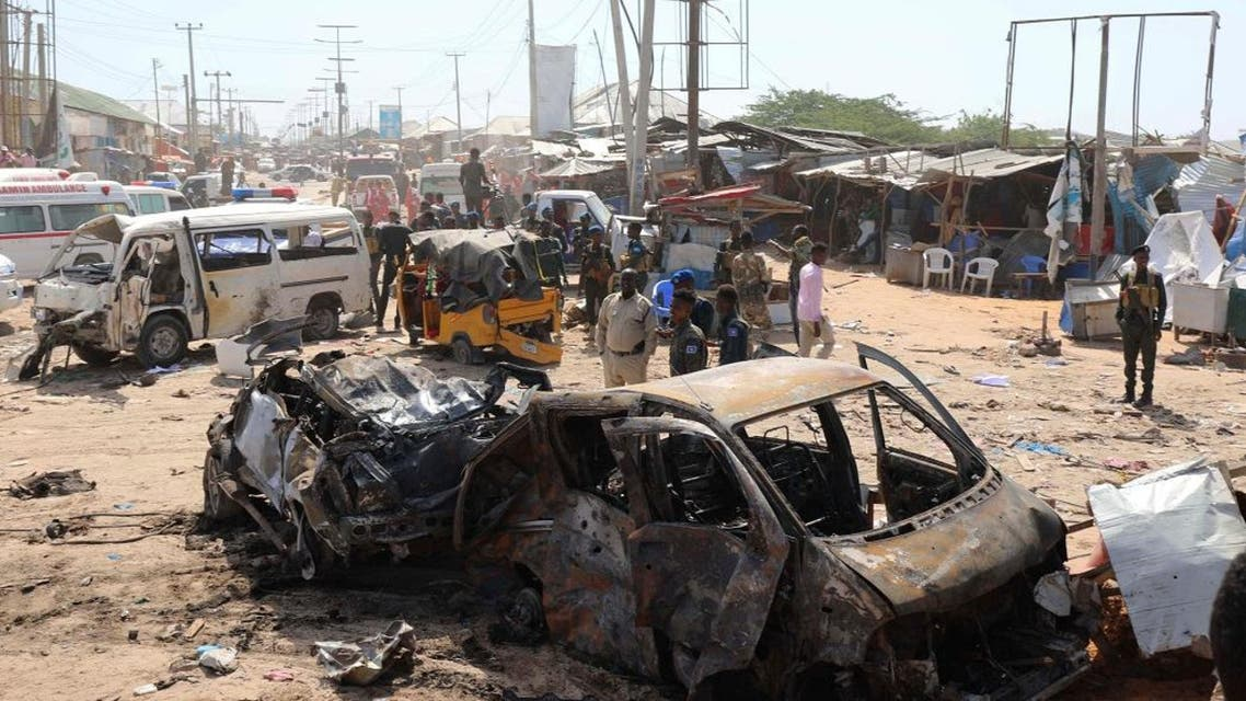 A general view shows the scene of a car bomb explosion at a checkpoint in Mogadishu, Somalia December 28, 2019. (Photo: Reuters)