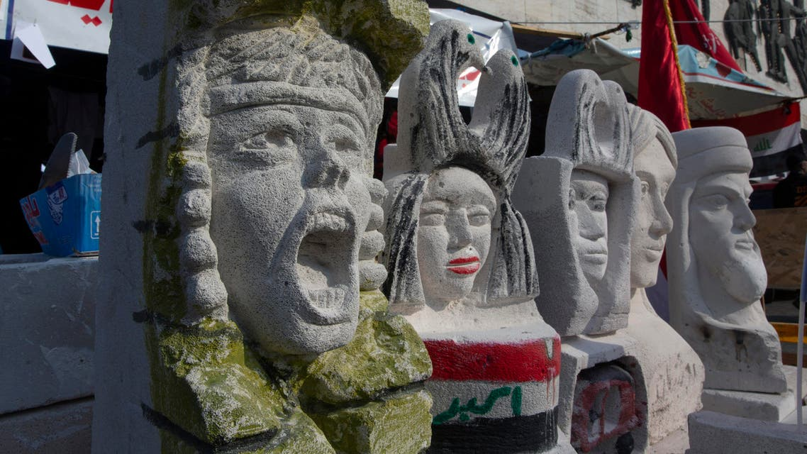 In this Tuesday, Dec. 17, 2019, photo, completed sculptures wait to be stored in preparation for an upcoming art exhibition, during the ongoing protests in Tahrir square, Baghdad, Iraq. (AP)
