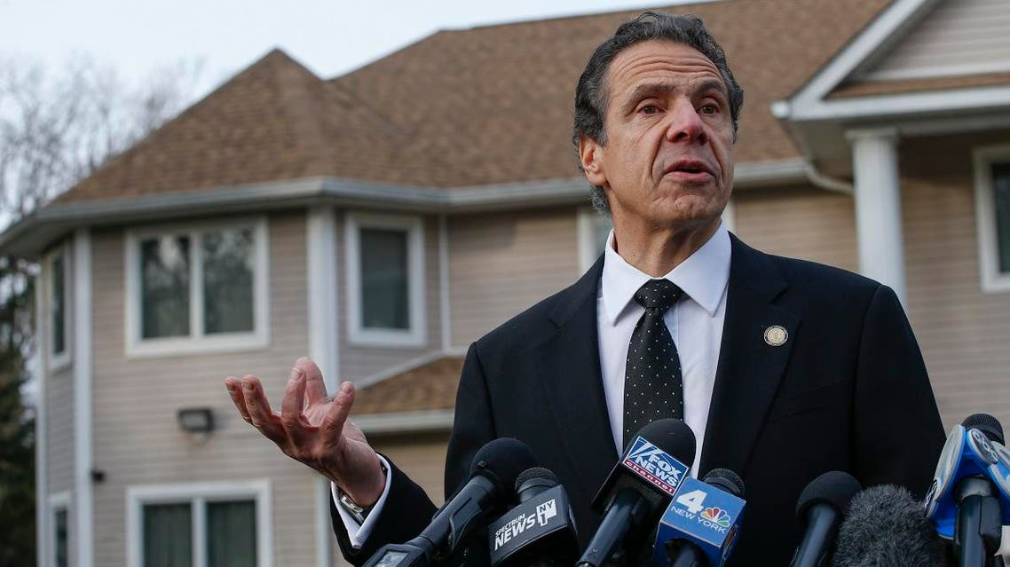 New York Governor Andrew Cuomo speaks to the media outside the home of rabbi Chaim Rottenbergin Monsey, in New York on December 29, 2019 after a machete attack that took place earlier outside the rabbi's
