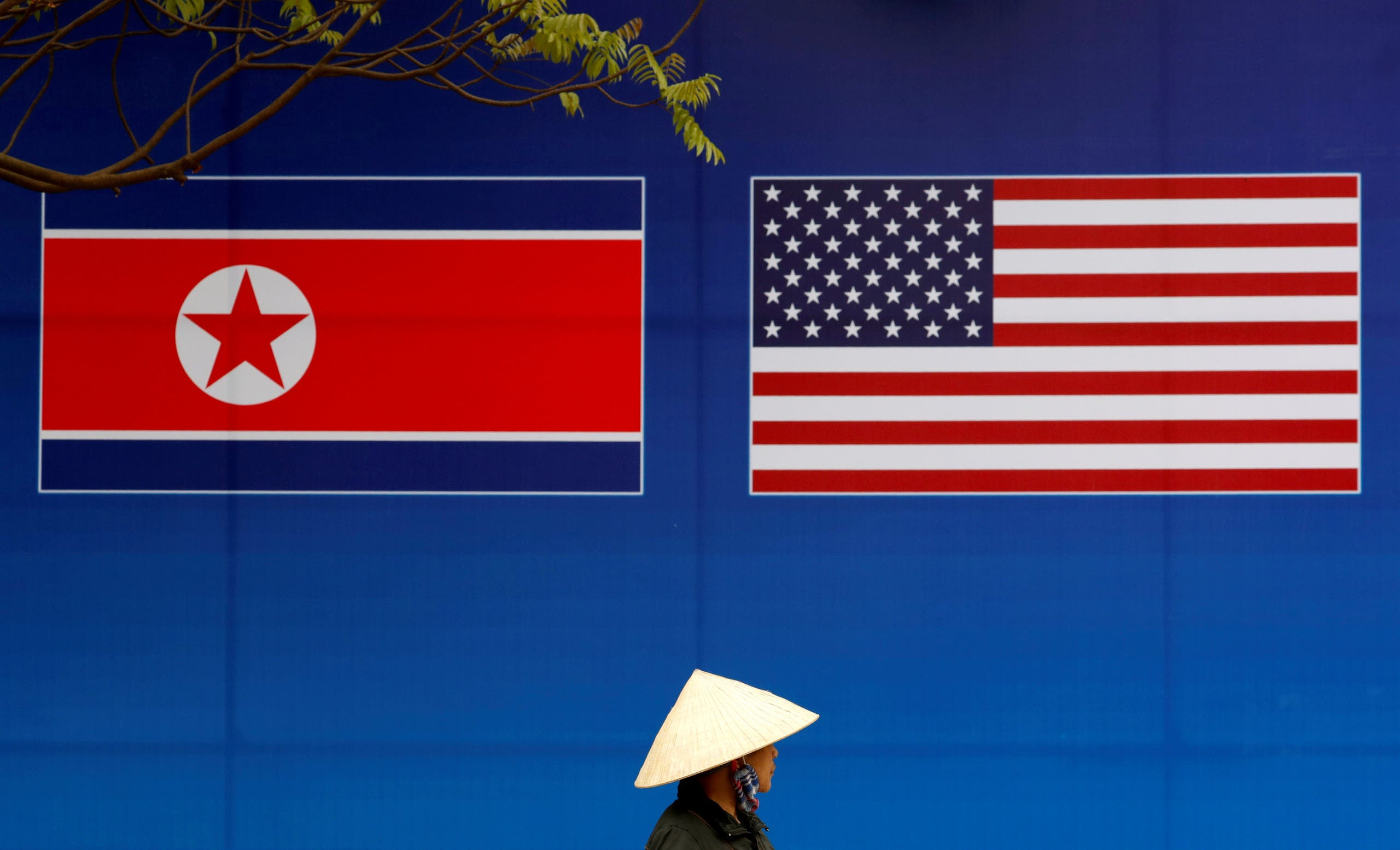 أعلام الولايات المتحدة الأميركية وكوريا الشمالية