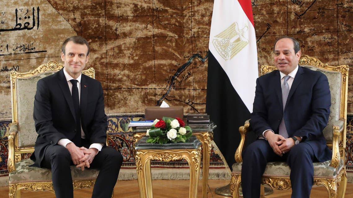 French President Macron and Egyptian President Sisi. (File photo: AFP)