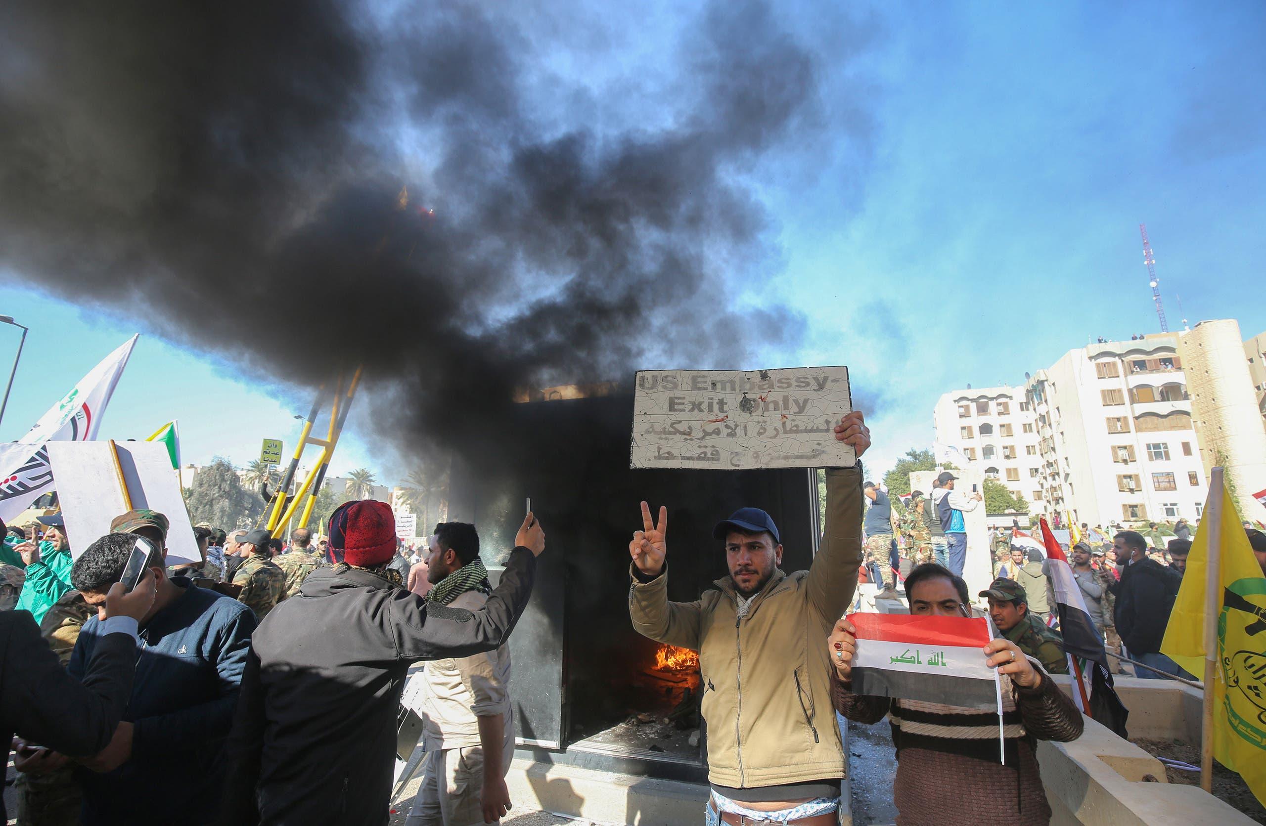 شبهنظامیان هوادار ایران در تلاش برای اشغال سفارت آمریکا در بغداد