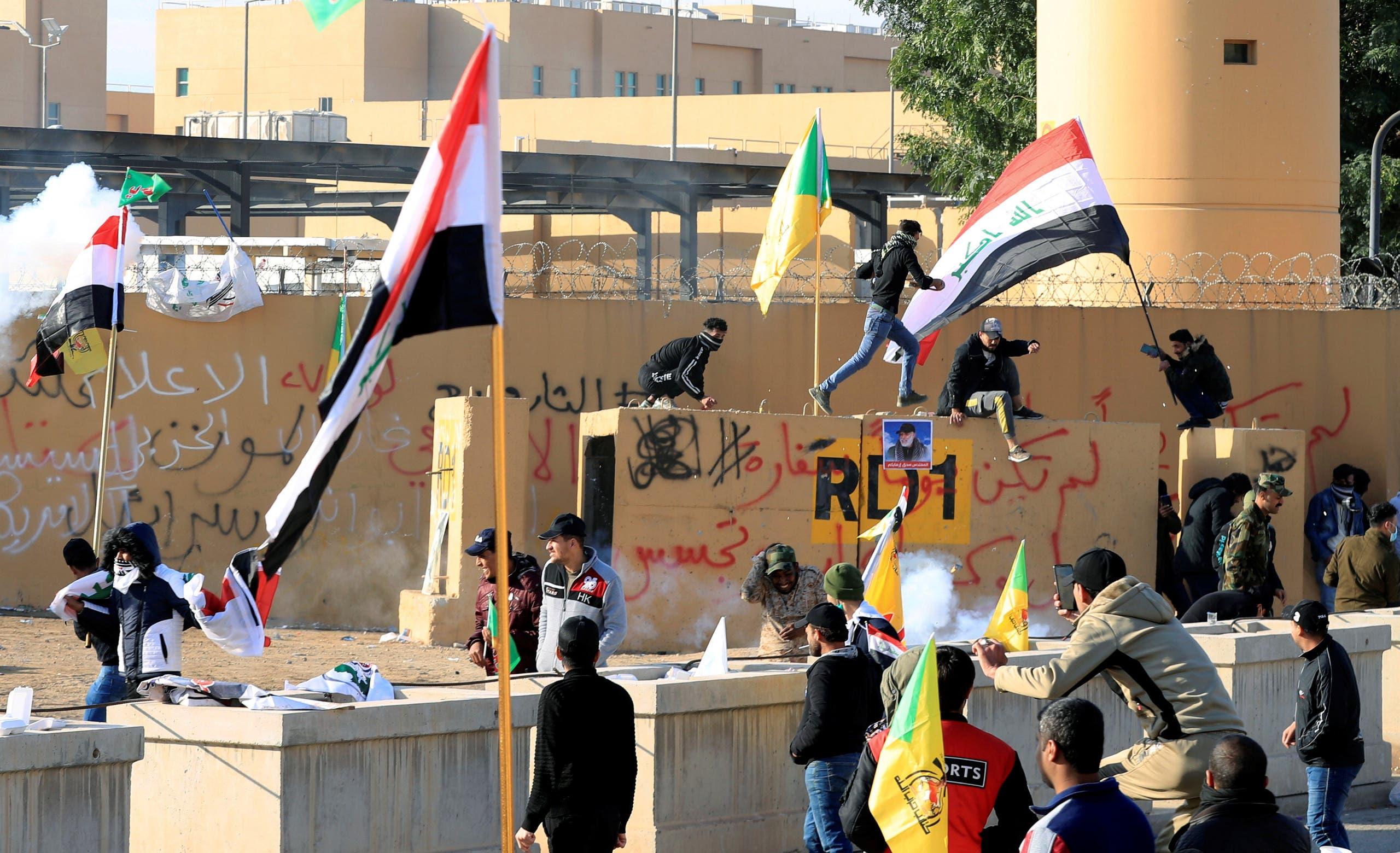 من محيط السفارة الأميركية في بغداد- 1-1 2020 (رويترز)