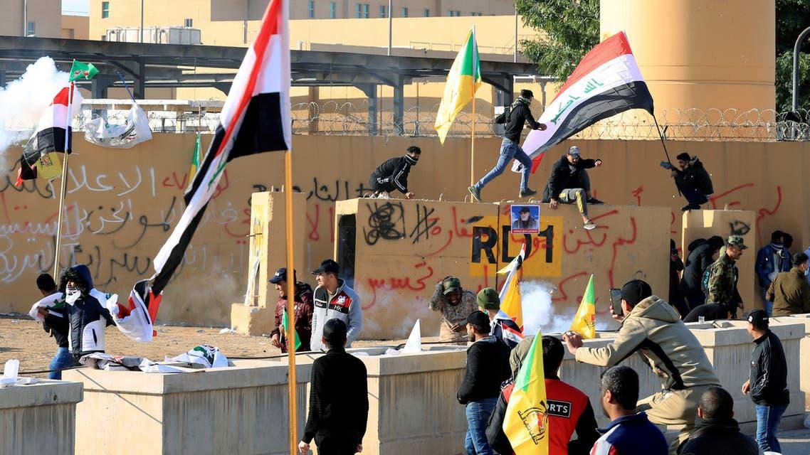 من محيط السفارة الأميركية في بغداد- 1-1 2020 رويترز)