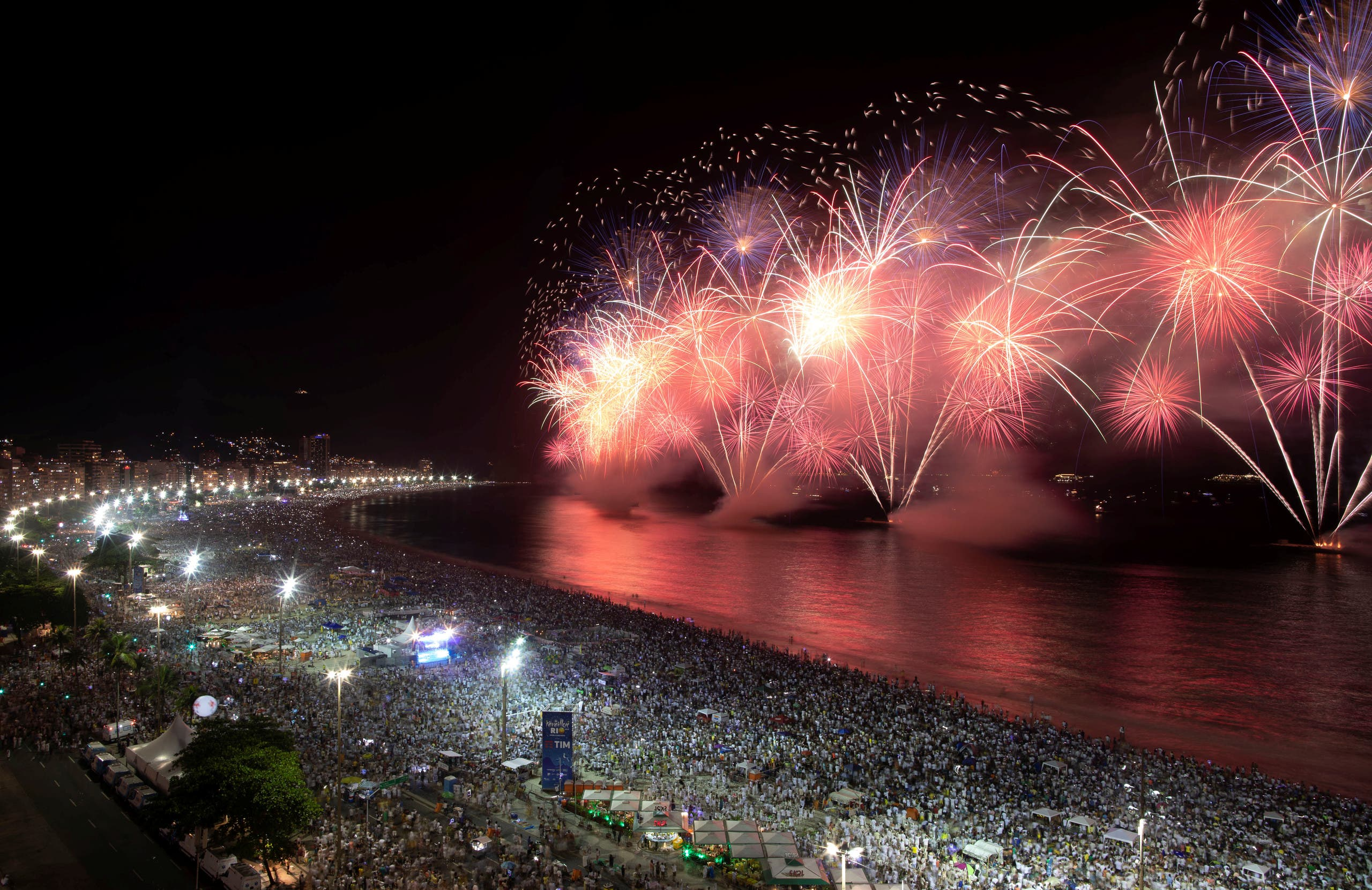 Fireworks explode over Copacabana beach during New Year celebrations in Rio de Janeiro. (Photo: Reuters)
