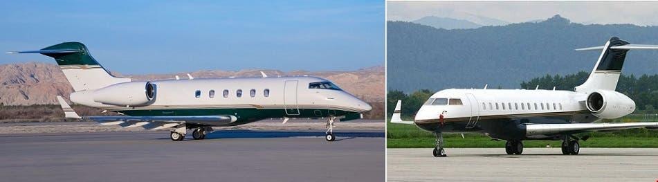 من اليمين الطائرة التي نقلته إلى بيروت، وإلى اليسار التي فر بها من اليابان
