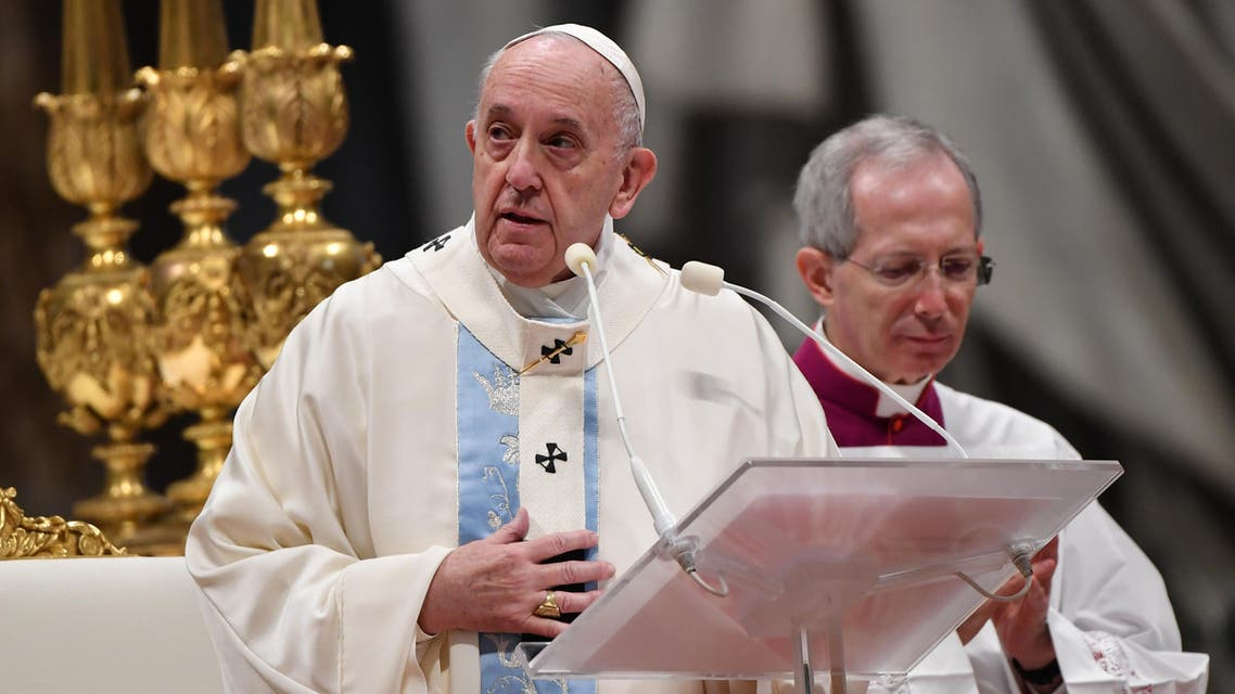 Pope Francis celebrates the New Year's day mass on January 1, 2020 in St. Peter's Basilica at the Vatican. (AFP)