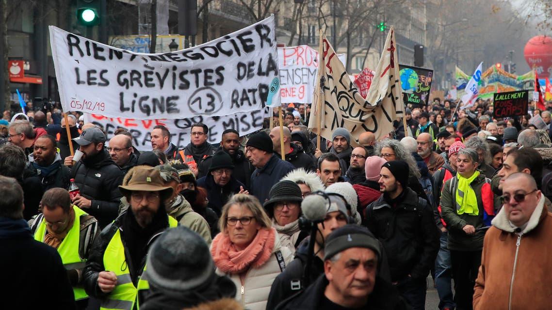 بمسيرةاحتجاج على خطط إصلاح المعاشات في باريس ، السبت 28 ديسمبر ، 2019