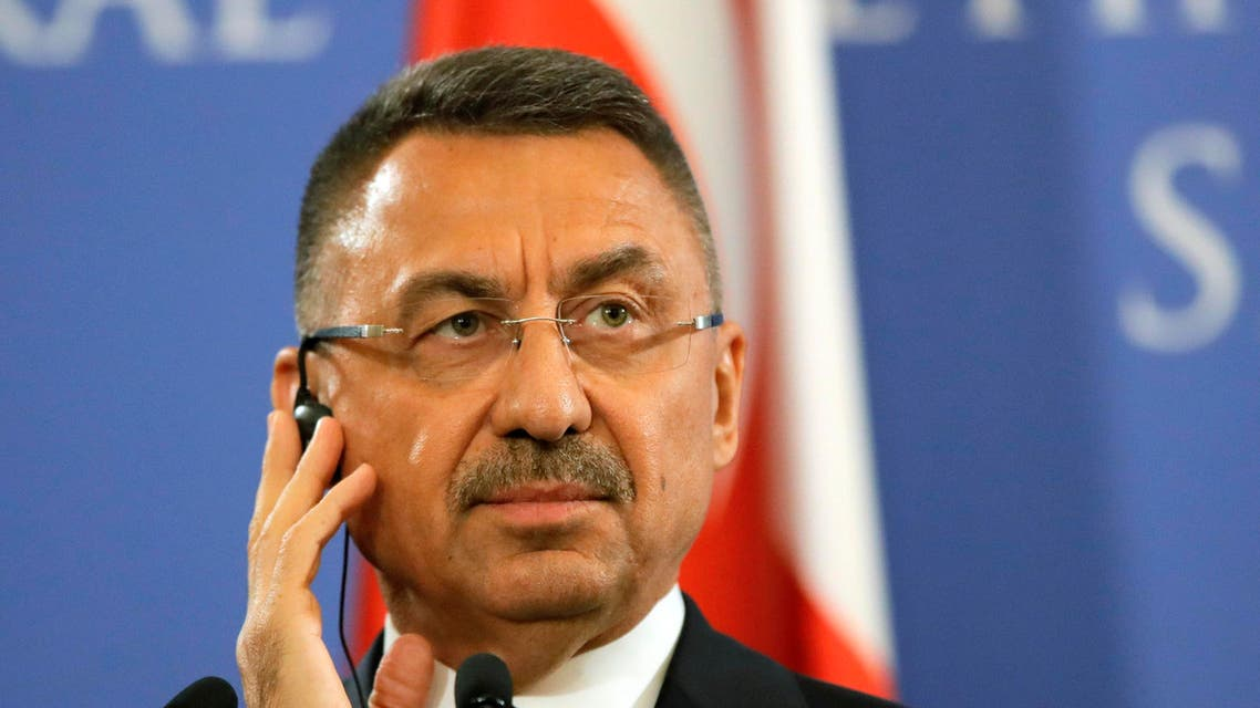 Turkish Vice President Fuat Oktay attends a press conference in Romania on March 29, 2019. (File photo: AP)