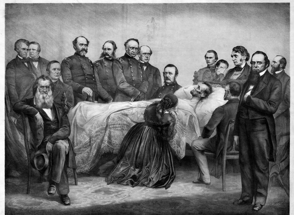 لوحة تجسد أبراهام لينكولن على فراش الموت