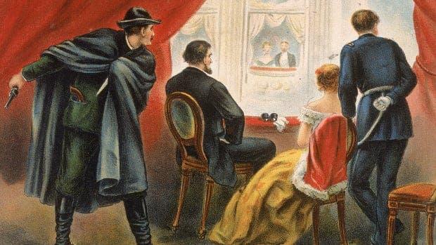رسم تخيلي لبوث وهو يتربص بالرئيس لينكولن