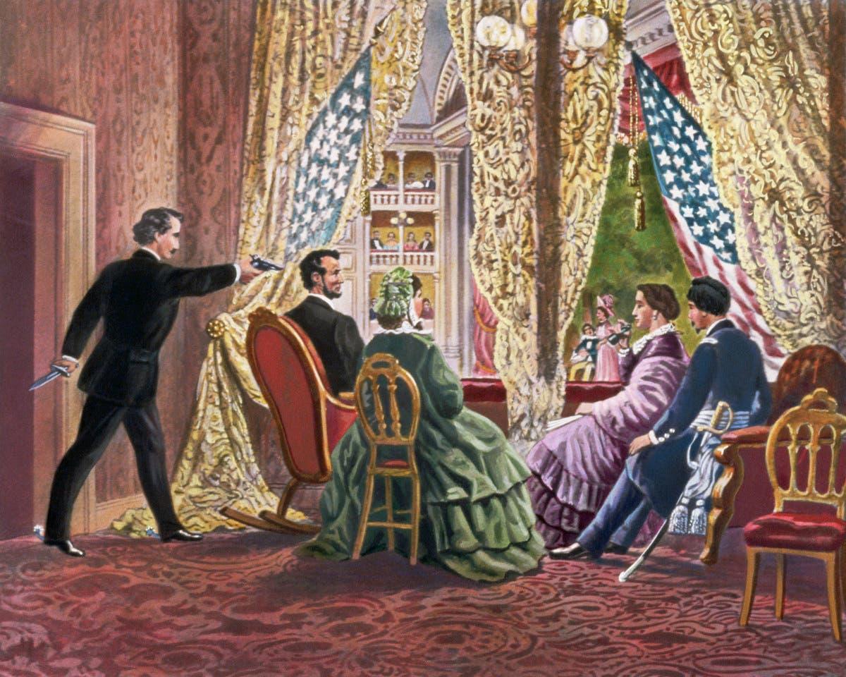 رسم تخيلي لحادثة اغتيال أبراهام لينكولن