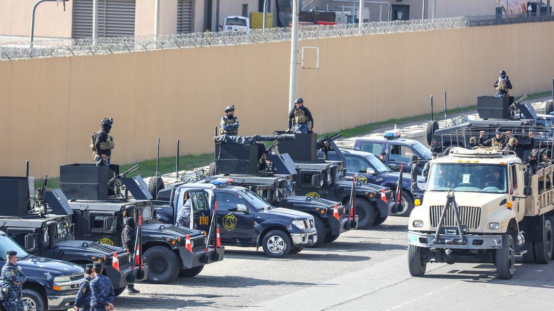 من محيط السفارة الأميركية في بغداد (رويترز)