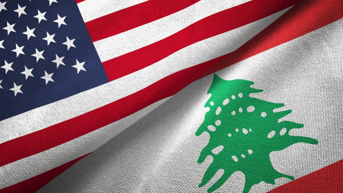Lebanon and United States two flags together realations textile cloth fabric texture stock photo
