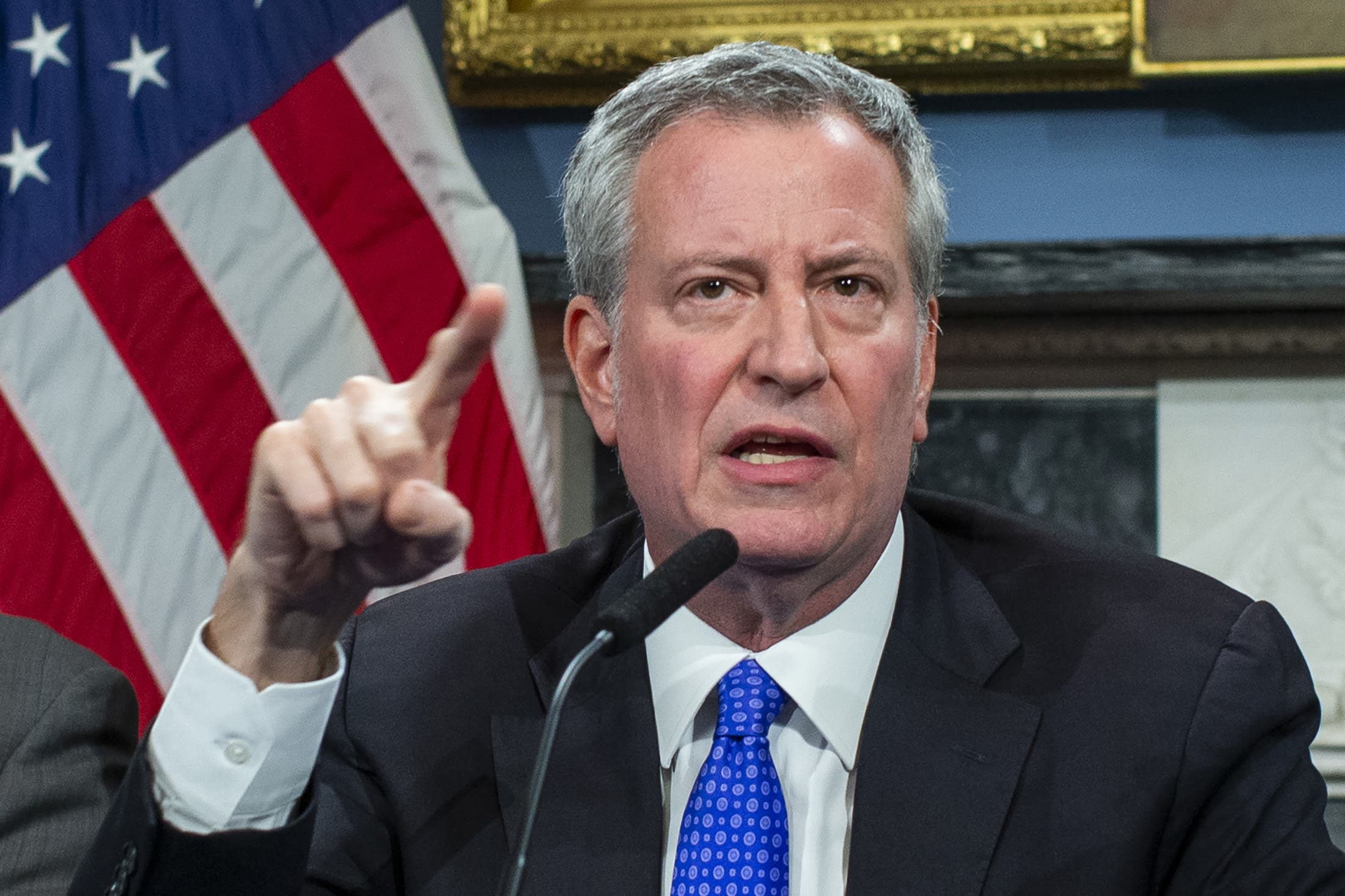 New York Mayor Bill de Blasio speaks to the media during a press conference at City Hall in New York City. (AFP)
