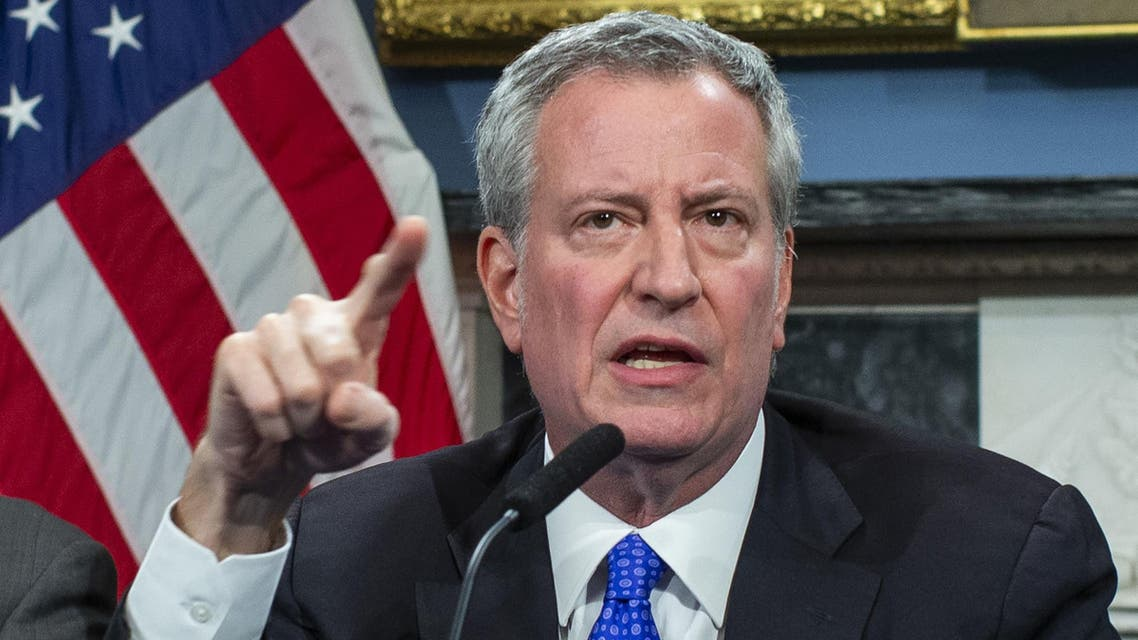 New York Mayor Bill de Blasio speaks to the media during a press conference at City Hall on January 3, 2020 in New York City. (AFP)