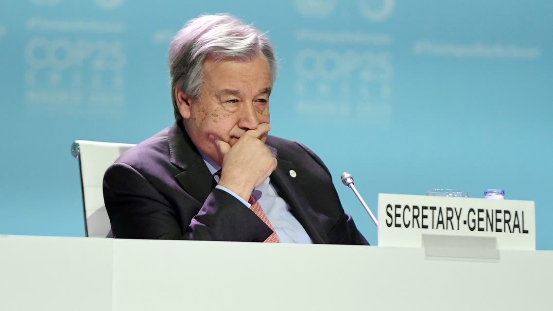 Secretary-General of the United Nations Antonio Guterres takes part in the Global Climate Action High-Level event at the UN Climate Change Conference COP25 at the 'IFEMA - Feria de Madrid' exhibition centre, in Madrid, on December 11, 2019. Nations are gathered in Spain's capital to finalise the rulebook of the 2015 landmark Paris climate accord, which aims to limit global temperature rises to well below two degrees Celsius and to a safer cap of 1.5C if possible. But the consensus-based talks are bogged down in politically charged wrangling over the architecture of carbon markets, timetables for the review of carbon-cutting pledges, and a new fund to help poor countries already reeling from climate impacts.