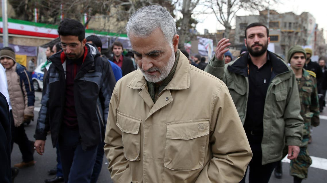 The commander of the Iranian Revolutionary Guard's Quds Force, General Qassem Soleimani, attends celebrations marking the 37th anniversary of the Islamic revolution on February 11, 2016 in Tehran.