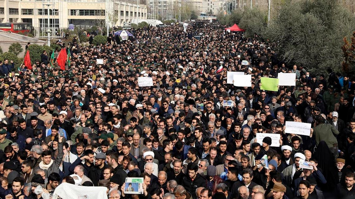 Protesters demonstrate over the U.S. airstrike in Iraq that killed Iranian Revolutionary Guard Gen. Qassem Soleimani in Tehran, Iran, Friday Jan. 3, 2020. (AP)