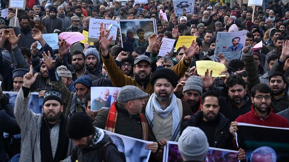 Protesters shout slogans against the US and Israel during a demonstration following the killing of top Iranian commander Qasem Soleimani in Iraq. (Photo: AFP)