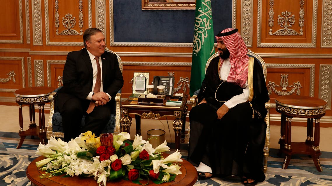 US Secretary of State Mike Pompeo (L) meets with Saudi Crown Prince Mohammed bin Salman at the Royal Court in Riyadh on January 14, 2019.