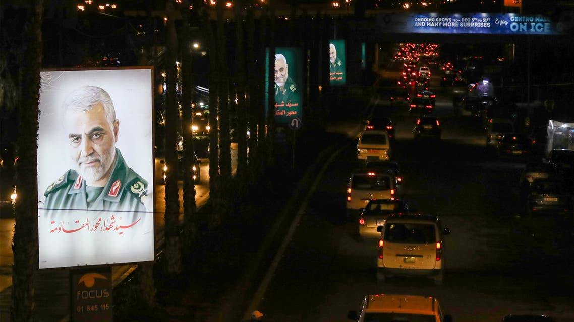 Portraits of slain Iranian military commander Qasem Soleimani are seen on the airport highway in Lebanese capital Beirut, on January 4, 2020. Soleimani, killed in a US air strike in Iraqi capital Baghdad on January 3, will be laid to rest next week in his hometown of Kerman as part of three days of ceremonies across the country, the Revolutionary Guards said.