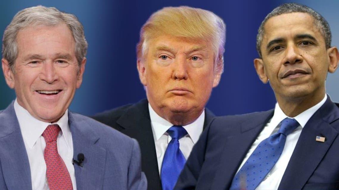 صورة مركبة .. باراك أوباما و جورج بوش و دونالد ترمب