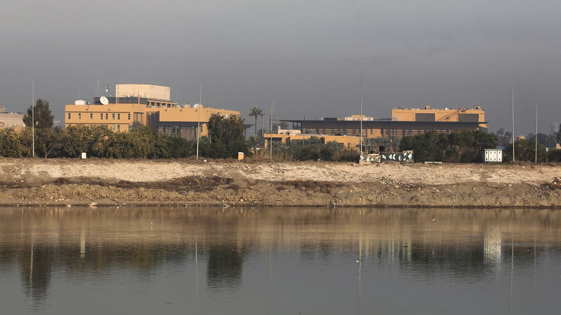 A general view shows the US embassy across the Tigris river in Iraq's capital Baghdad on January 3, 2020. The US embassy in Baghdad urged American citizens in Iraq to depart immediately, for fear of fallout from a US strike that killed top Iranian and Iraqi commanders.
