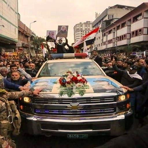 شاهد تشييع سليماني في بغداد بسيارة