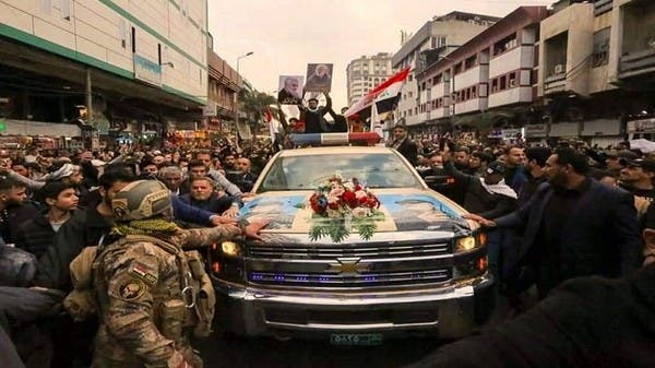 """شاهد تشييع سليماني في بغداد بسيارة """"شيفروليه"""" أميركية"""