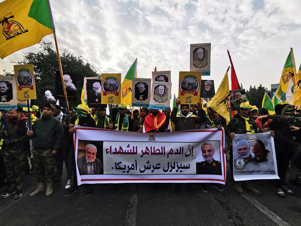 Iraq's Popular Mobilization Forces hold a funeral for Soleimani and al-Muhandes, who were killed in an air strike at Baghdad airport on January 4, 2020. (Photo: Reuters)