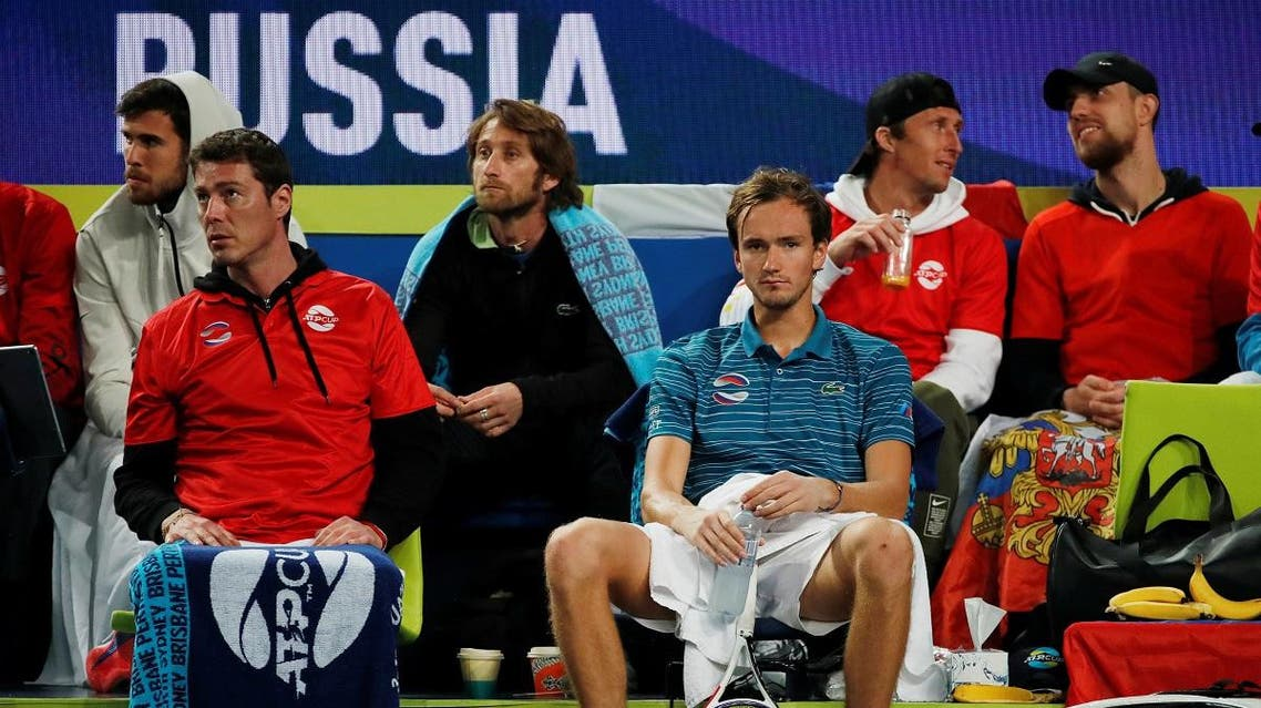 Russia's Daniil Medvedev during his Group D singles match against Italy's Fabio Fognini. (Reuters)