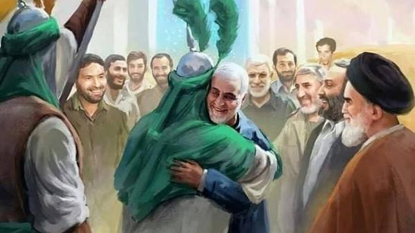 Khamenei website posts illustration of Soleimani, al-Mohandes 'in heaven'