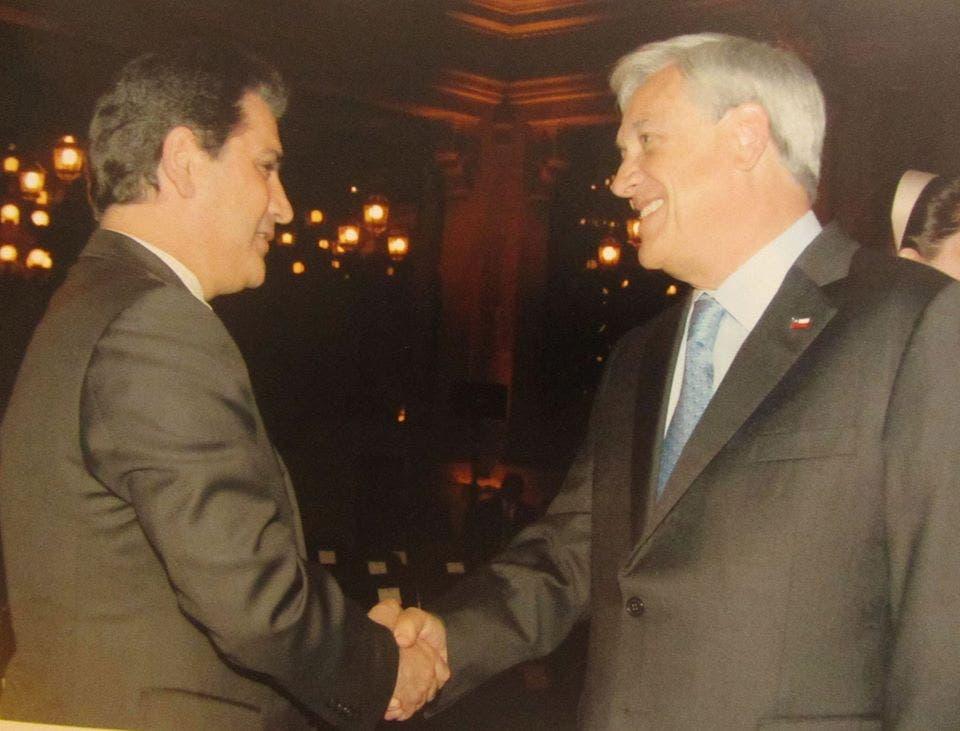 الرئيس التشيلي سيباستيان بينيرا والسفير الملحم