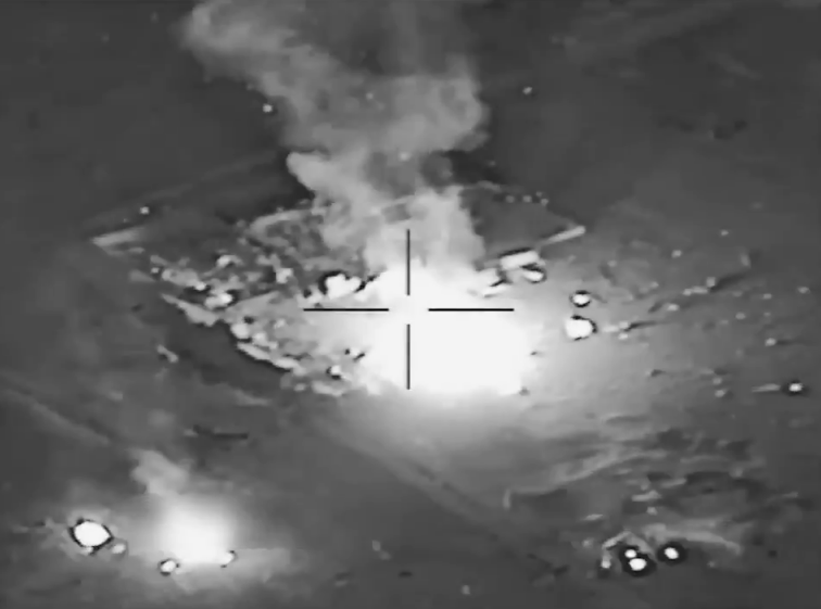 Images distributed by the US military allegedly show the hit that was carried out by the United States on the 29th of December 2019 on the headquarters of the Iran-backed Iraqi Hezbollah militant group in Iraq and Syria, following a rocket attack in Iraq that killed a US civilian contractor. (AFP)