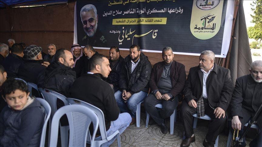 بيت عزاء في غزة لقاسم سليماني في غزة