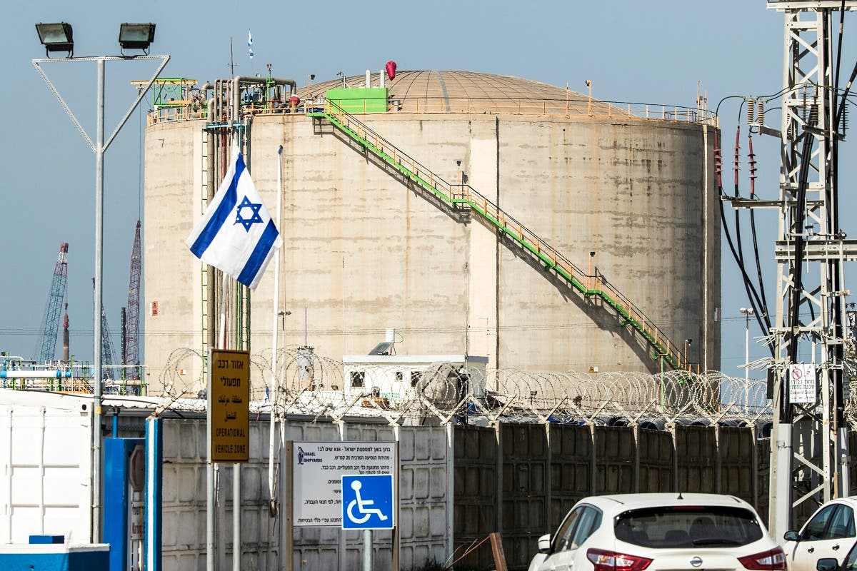 A picture taken on February 23, 2017 shows an ammonia container in the northern Israeli port city of Haifa. (AFP)