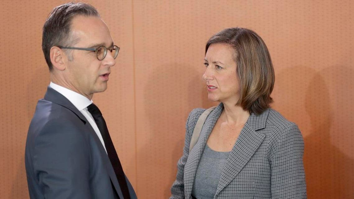 German Foreign Minister Heiko Maas (L) and the deputy government spokeswoman Ulrike Demmer at the Chancellery in Berlin, Sept. 18, 2019. (AP)