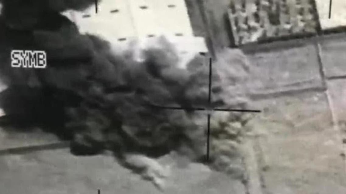 Satellite image shows moment an Arab Coalition aircraft targeted a convoy belonging to a Houthi leader in 2018. (File photo)