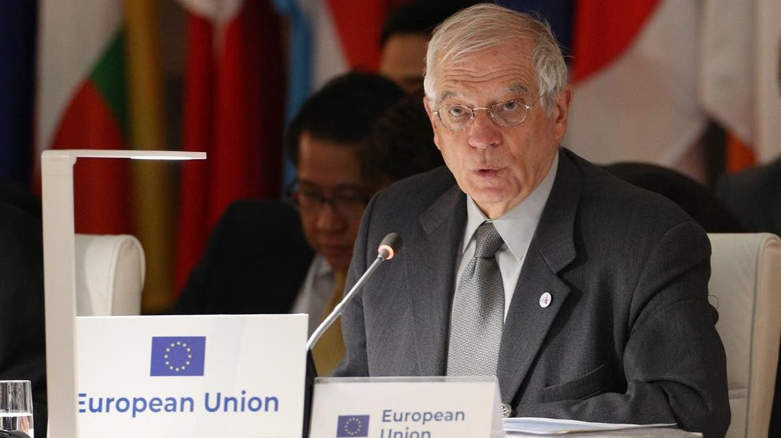 High Representative of the European Union for Foreign Affairs and Security Policy Josep Borrell attends the 14th ASEM Foreign Ministers' Meeting at the Royal Palace of El Pardo near Madrid on December 16, 2019. (AFP)