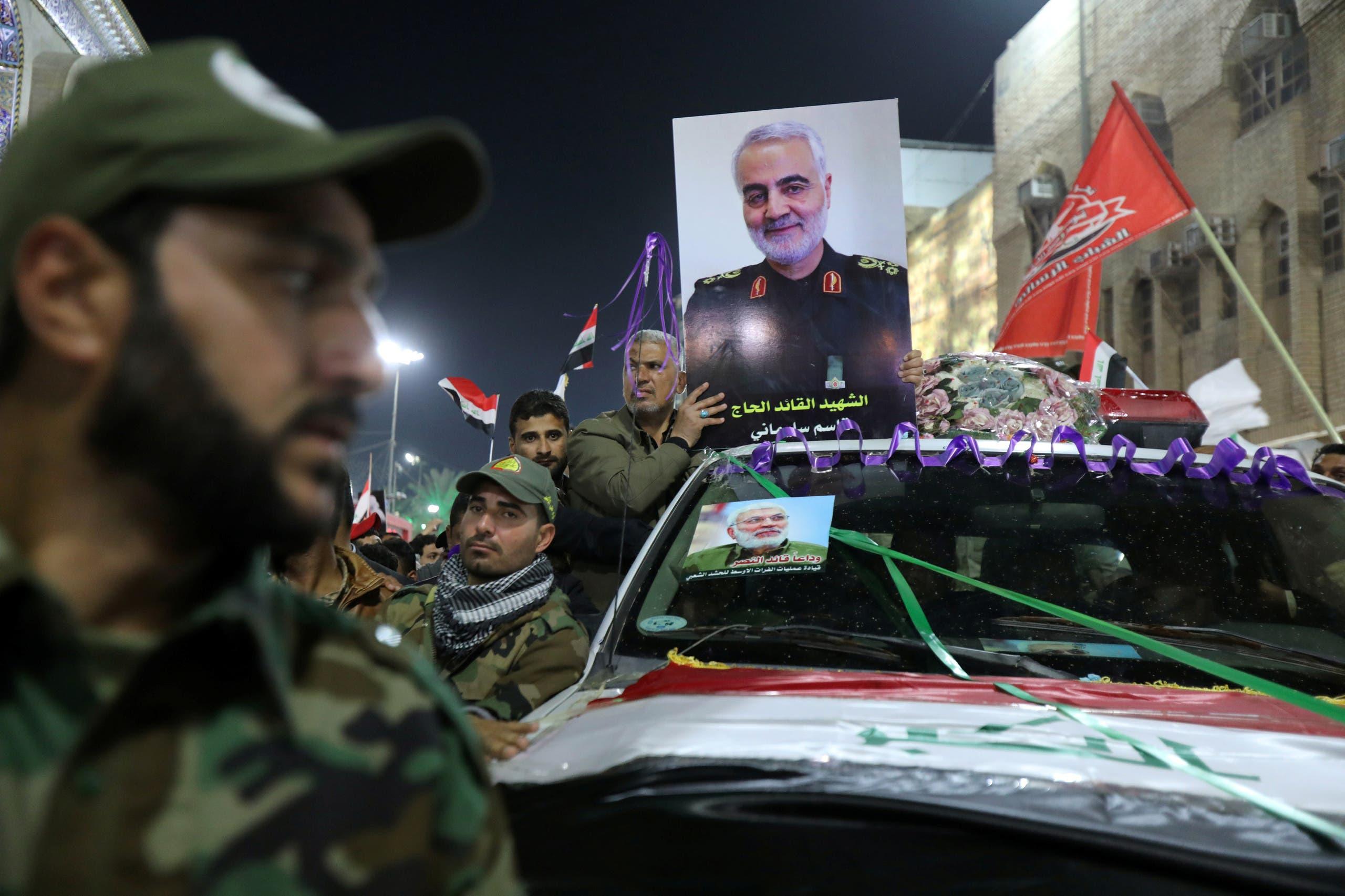 من تشييع سليماني في العراق( رويترز)