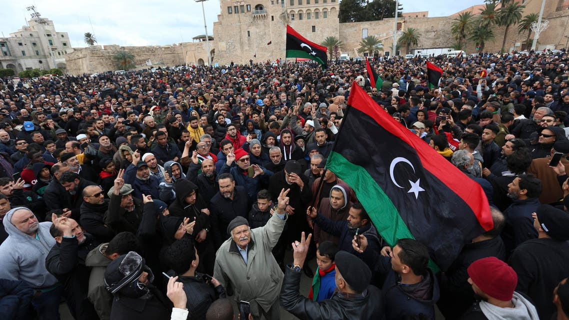 People attend a funeral of military cadets in Tripoli on Jan. 5, 2020. (AP)