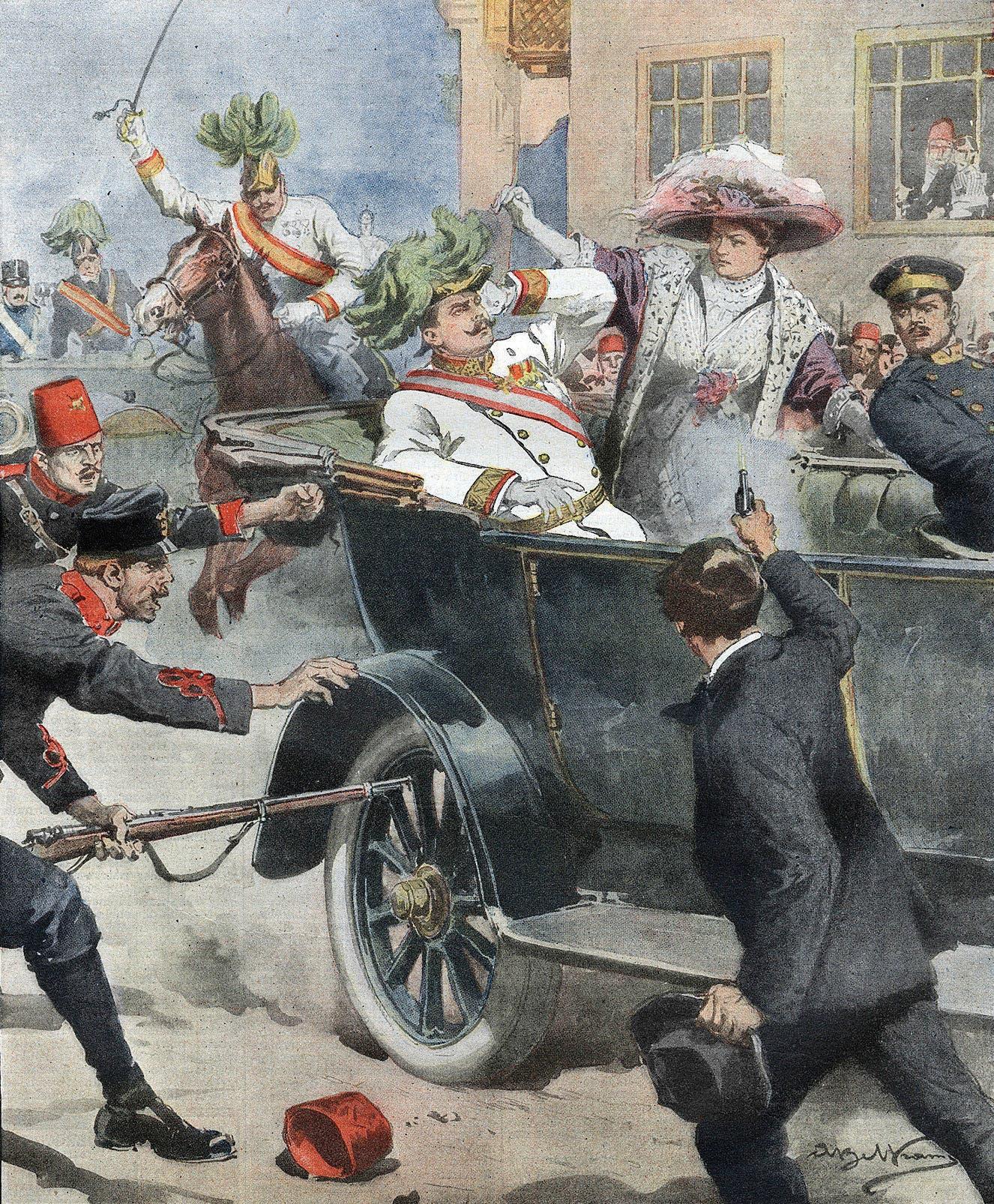 رسم تخيلي يجسد حادثة اغتيال ولي عهد النمسا