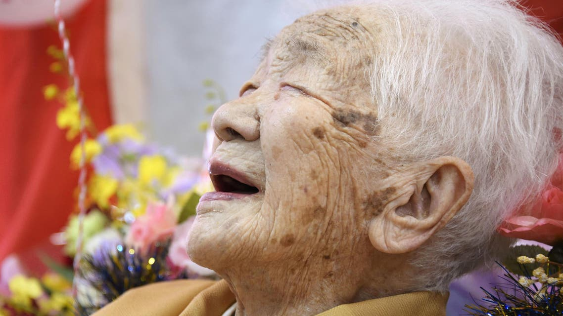 Kane Tanaka, born in 1903, smiles as a nursing home celebrates three days after her 117th birthday in Fukuoka, Japan, in this photo taken by Kyodo January 5, 2020. (Reuters)