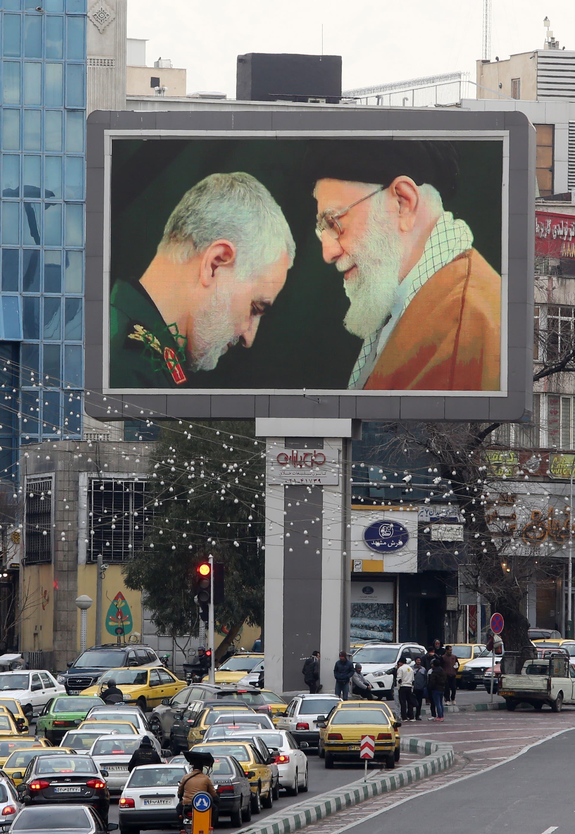 صورة سليماني في أحد شوارع طهران(أرشيفية- فرانس برس)